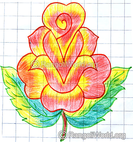 Simple rose flower kolam april14 2015