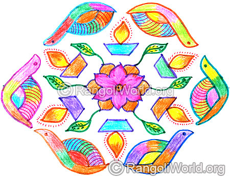 Snail deepam flower kolam april14 2015