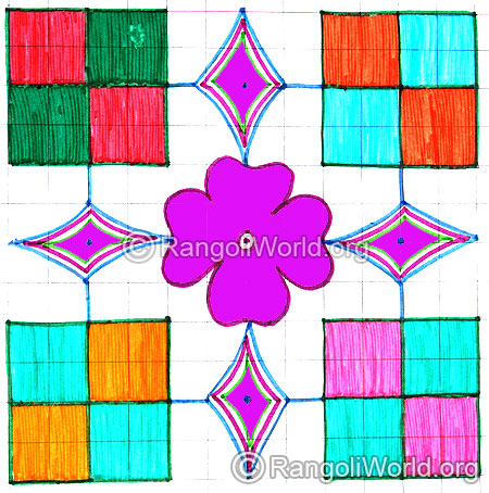 Square and flower kolam april14 2015
