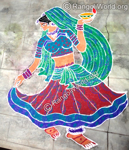 Girl Dance Rangoli
